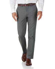 Light grey slim fit stretch cavalry twill trousers