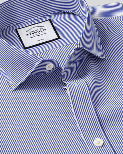 Extra slim fit spread collar non-iron bengal stripe navy shirt