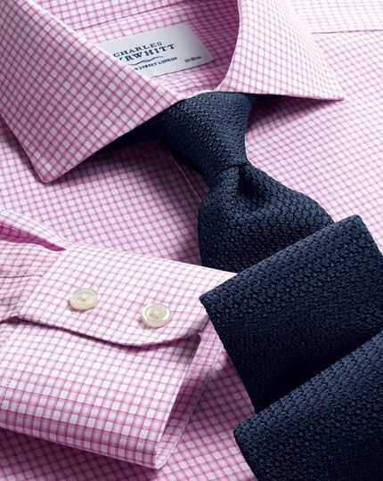 Slim fit spread collar non-iron dobby check pink shirt