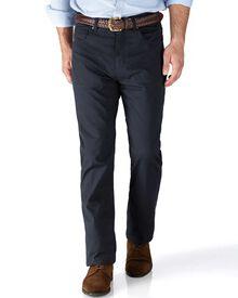 Navy slim fit 5 pocket textured dobby pants