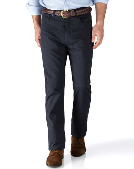Navy slim fit 5 pocket textured dobby trousers