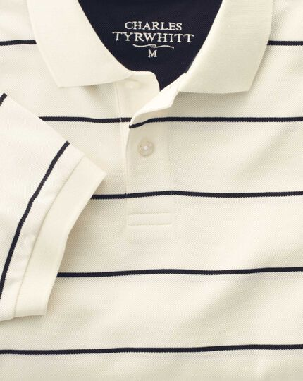 Classic fit white and navy striped pique polo