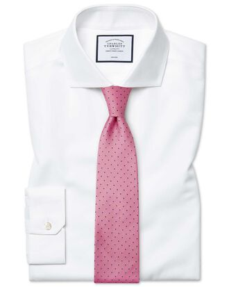 Super slim fit cutaway non-iron twill white shirt