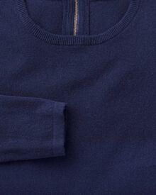 Blue merino cashmere zip back sweater