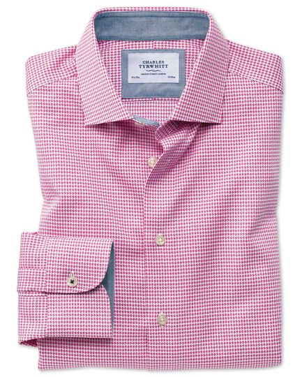 Classic fit business casual semi-cutaway collar puppytooth pink shirt