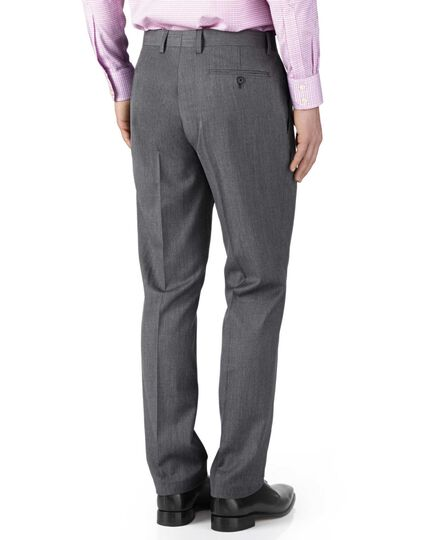 Silver slim fit twill business suit trousers