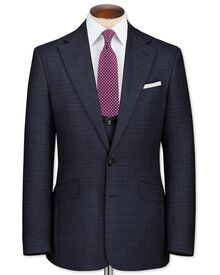 Navy slim fit check business suit jacket