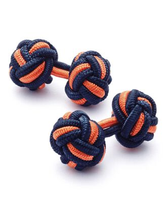 Navy and orange knot cuff links
