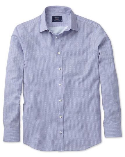 Extra slim fit sky blue and purple geometric print shirt