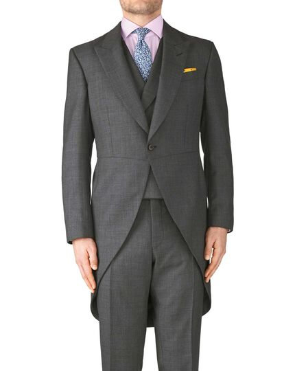 Dark grey classic fit morning suit tail coat