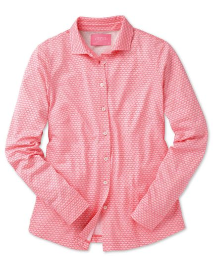 Women's coral shell printed jersey shirt