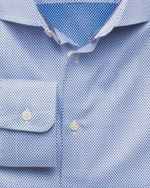 Extra slim fit semi-spread collar business casual spot blue shirt