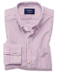 Slim fit button-down non-iron poplin berry stripe shirt
