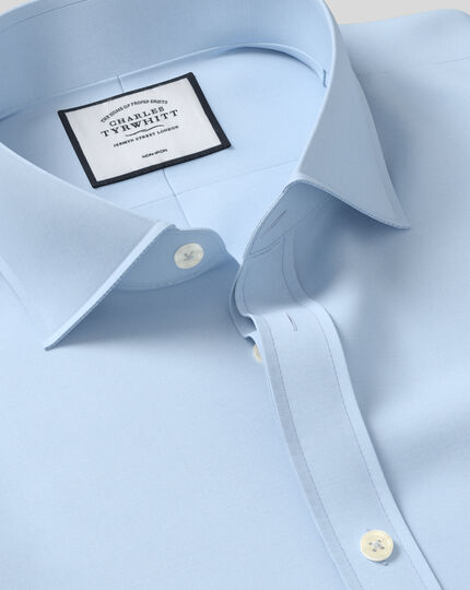 Extra slim fit cutaway collar non-iron poplin sky blue shirt