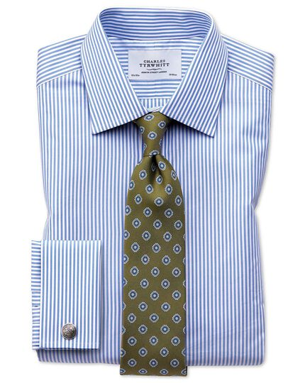 Slim fit bengal stripe sky blue shirt
