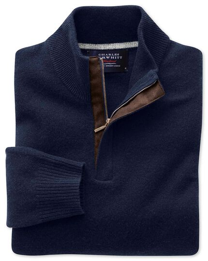 Navy cashmere zip neck sweater