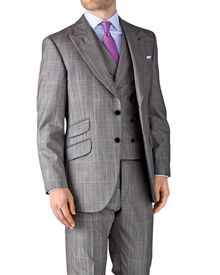 Grey check slim fit British Panama luxury peak lapel suit jacket