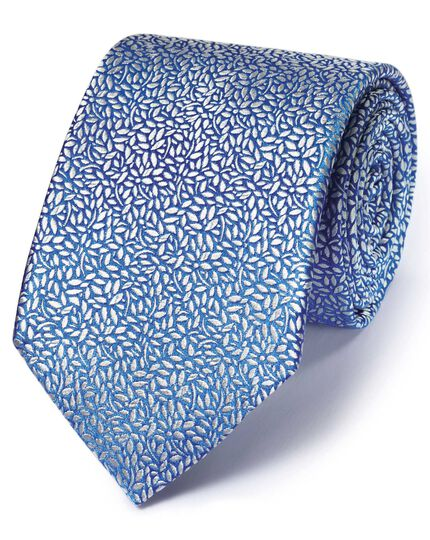 Light blue silk English luxury floral leaf tie