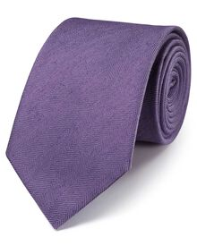 Purple classic herringbone plain tie