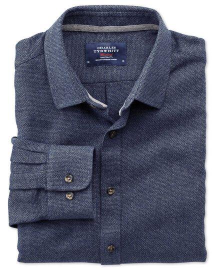 Slim fit navy mouline shirt