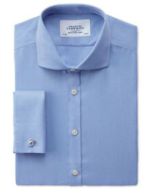 Extra slim fit cutaway collar non-iron mini herringbone blue shirt
