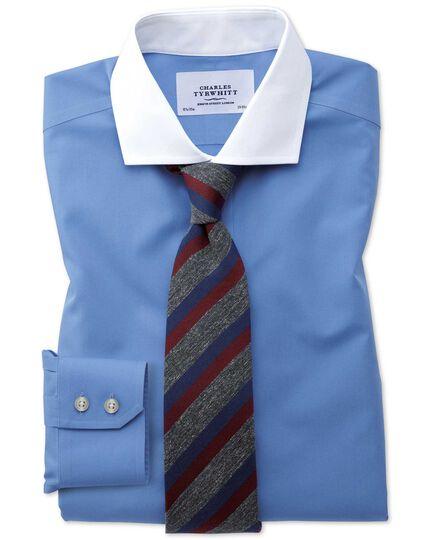 Slim fit spread collar non-iron poplin blue shirt