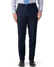 Navy slim fit basketweave business suit trousers