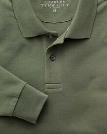 Olive pique long sleeve polo