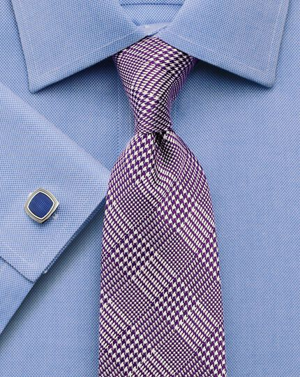 Purple silk classic Prince of Wales check tie