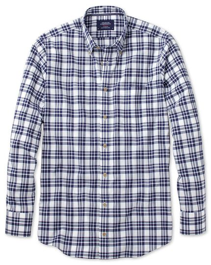 Slim fit button-down poplin navy blue check shirt
