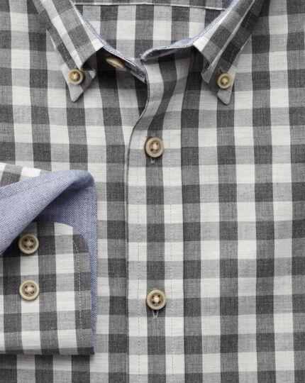 Extra slim fit grey melange check shirt