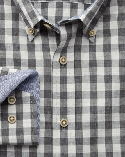 Slim fit grey melange gingham shirt