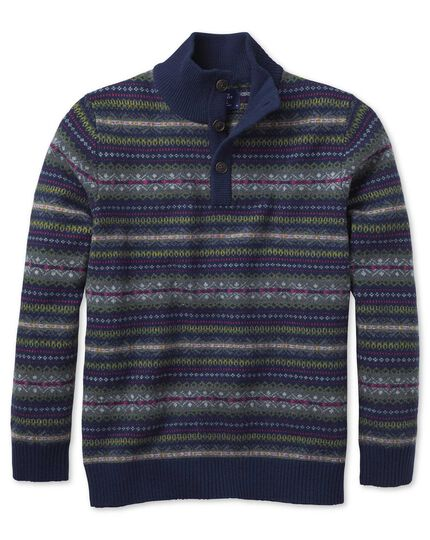 Navy multi fairisle button neck jumper