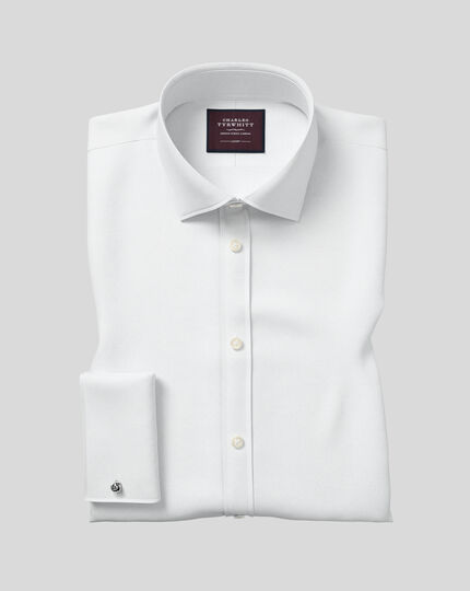 Classic fit semi-cutaway luxury twill white shirt