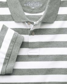 Grey and white stripe pique polo