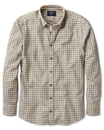 Slim fit gold and blue check brushed dobby shirt