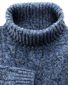 Blue mouline roll neck sweater