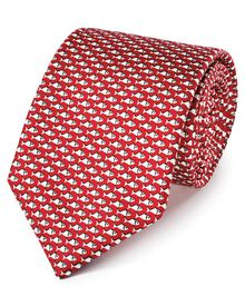Red and white silk classic fish printed tie