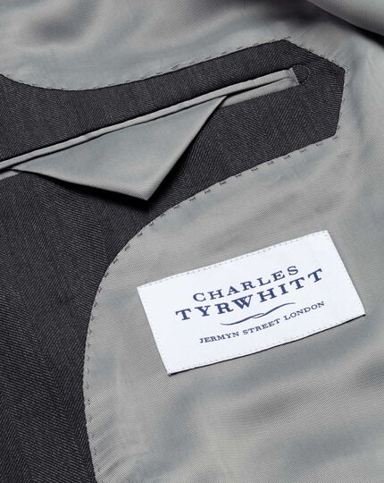 Charcoal slim fit herringbone business jacket