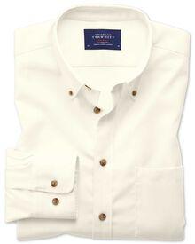 Extra slim fit non-iron twill off-white plain shirt