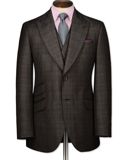 Brown check slim fit British Panama luxury suit jacket