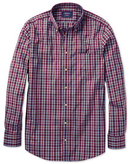 Bügelfreies Slim Fit Popeline-Hemd in Blau und Rot mit Karos