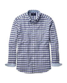 Extra slim fit navy, blue and grey melange gingham washed Oxford shirt