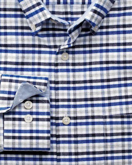 Slim fit navy, blue and grey melange gingham washed Oxford shirt