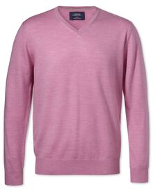 Light pink merino wool v-neck jumper
