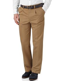 Tan classic fit single pleat chinos
