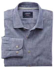 Slim Fit Hemd aus Chambray in marineblau strukturiert