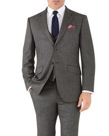 Slim Fit Business Anzug Sakko aus Flanell in Silber