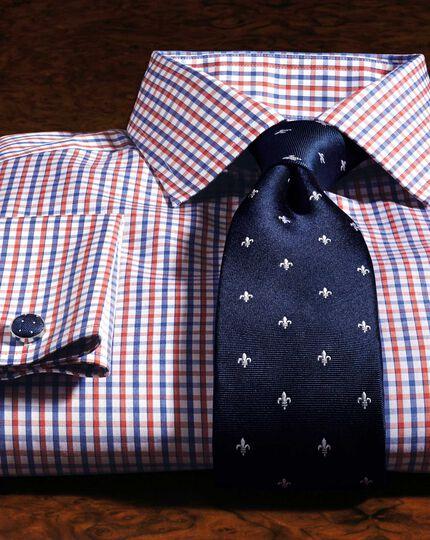 Navy and white silk classic Fleur-de-Lys tie