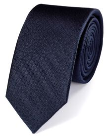 Slim navy silk textured plain classic tie